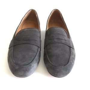 J. Crew Gray Suede Penny Loafers Size 6.5